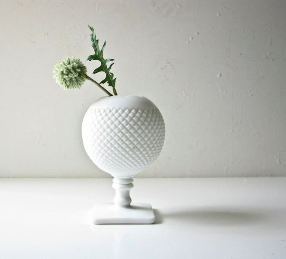 Vintage Milk Glass Vase - Simple and Elegant