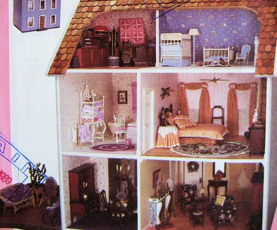 Simplicity 9396 Doll House Window Treatment, Curtains, Quilt, Braided Rug, More Pattern