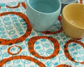 overprinted twist with loops - orange zest on seafoam