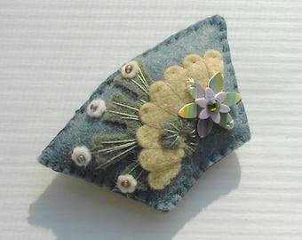 Early Spring - Late Winter  - Garden Flower Felt Fan Pin  in  Blue Grey  - Butter Yellow Fan Brooch