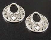 Earring Chandelier 2 Pendant Blank Antique Silver 5 Dangle Holes Flat 25mm long 22.5 wide (1029pen25s1)