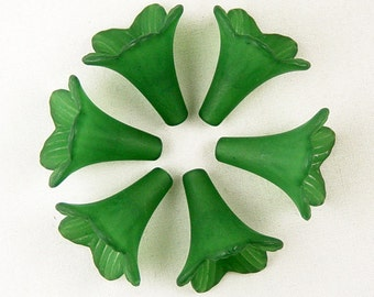 Acrylic Bead 6 Trumpet Flower Frosted Morning Glory Bugle Shamrock Green 23mm x 21mm (1018luc23-10)