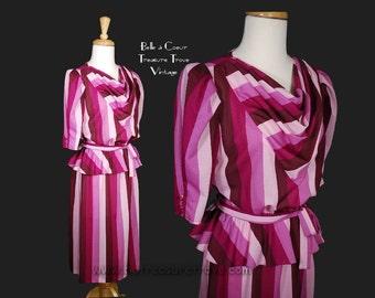 1970s 1980s Vintage Dress with Peplum in Raspberry Stripes Medium