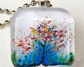 NEW, EDWARDS Tree, Art Pendant and Necklace, glass tile. Created with an exclusive Shelley Roze image.