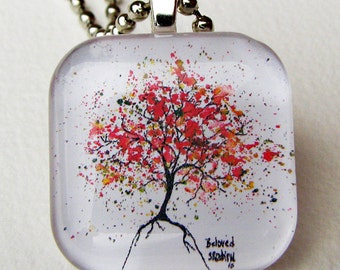 BELOVED Tree, Art Pendant and Necklace, glass tile. Created with an exclusive Shelley Roze image.