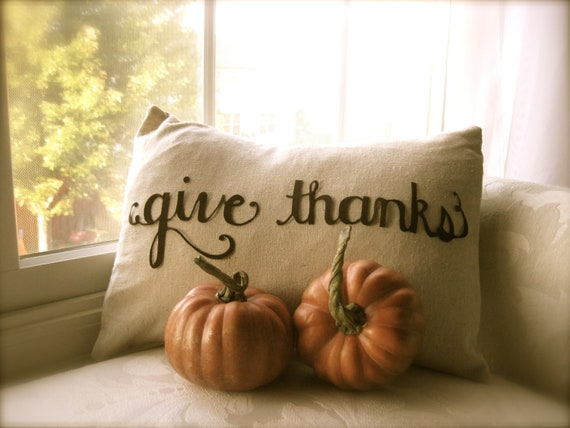 RESERVED for Valerie...Give Thanks and Boo! Scripted Thanksgiving Pillow Cover in Natural Linen