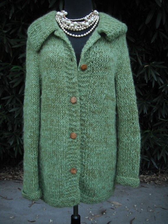 Handmade Knit Mohair Cardigan //  Vintage Handmade Sweater