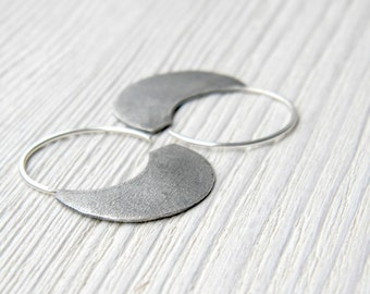 Organic Oxidized Little Urban Hoops -  sterling silver hoop earrings, textured and antiqued, made in Italy