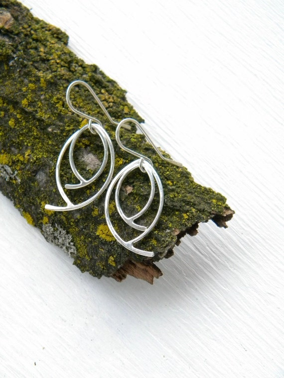 FREE SHIPPING - Double Leaves Earrings, Small - original sterling silver dangling earrings, small size, garden inspired