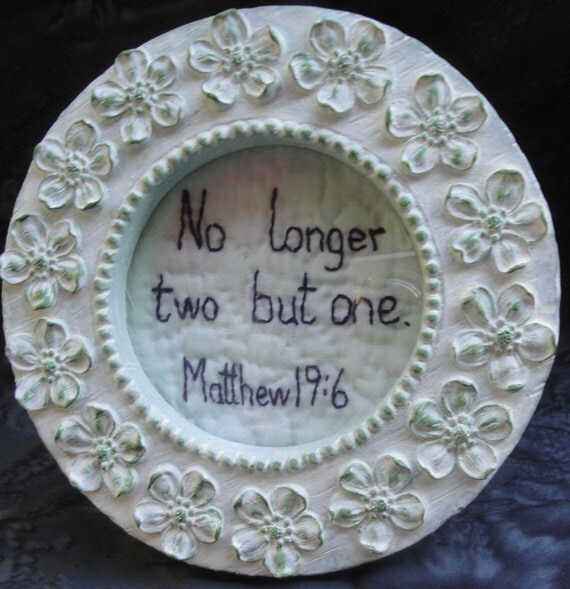 No Longer Two But One - Matthew 19:6 Circular Quilted Art