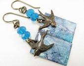 Aqua Blue Hand painted earrings, Brass Bird accents, Bright Blue Crystals