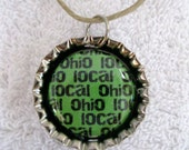 Green Local Ohio Bottlecap Charm Necklace - Pinback Accessories by LittleMommaErin