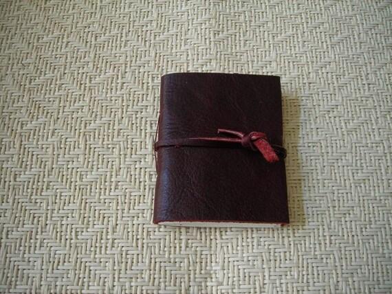 Burgundy Leather Mini Journal
