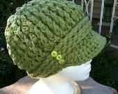 Tea Leaf Green Crocheted ribbed newsboy hat with thick band