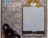 "Tear Bear ""HOPE"" Premade Page Scrapbook Page Handmade flowers by Tammie"