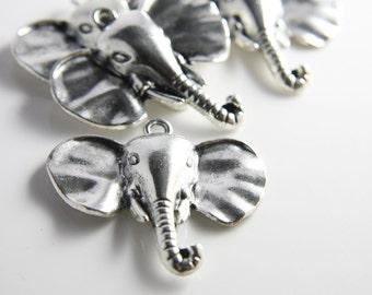 2 Pieces Oxidized Silver Tone Base Metal Pendants-Elephant 45x41mm (3686X-G-259)