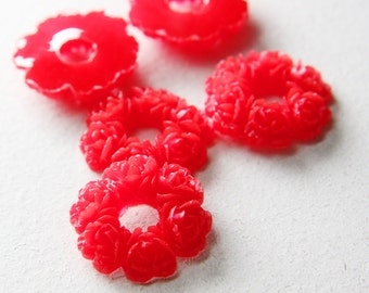 6pcs Acrylic Resin Cabochons-Flower-Red 29mm (50F6)