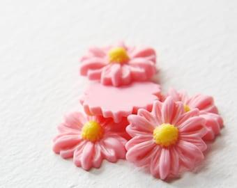 8pcs Acrylic Flower Cabochons-Pink 22mm (26F2A)