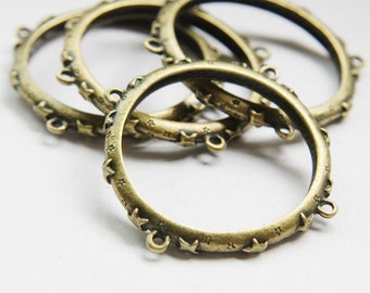 6pcs Antique Brass Tone Base Metal Link - Round 44mm (8825Z-O-61B)
