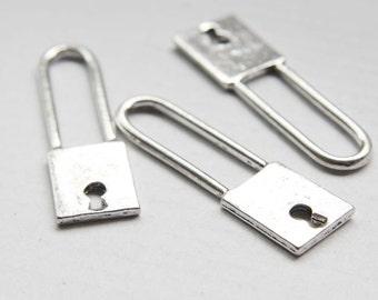 2pcs Oxidized Silver Tone Base Metal Charm - Lock 51x14mm (14768Z-O-46A)