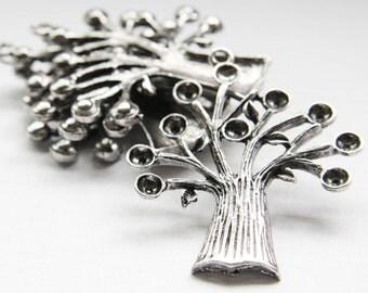 4pcs Oxidized Silver Base Metal Charm - Tree 59x51mm (18129Z-O-110A)