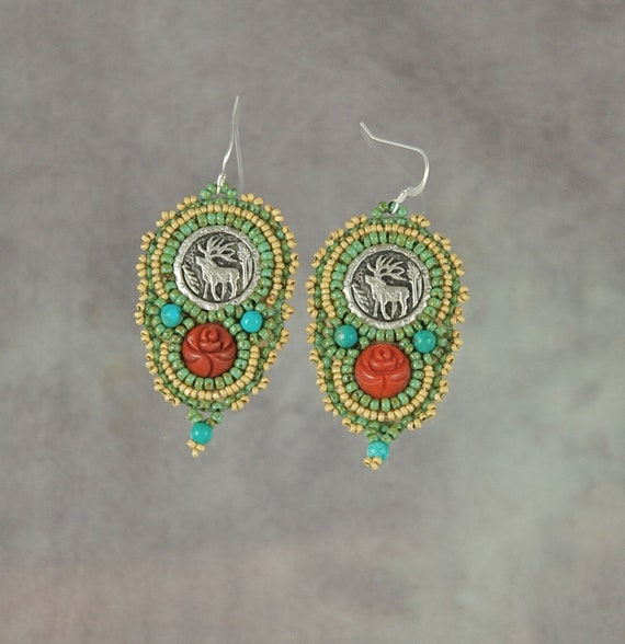 Vintage Elk Button and Coral Earrings
