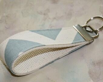 Fabric Wrist Key Chain, Key Fob Wristlet Keychain  in Blue Chevron