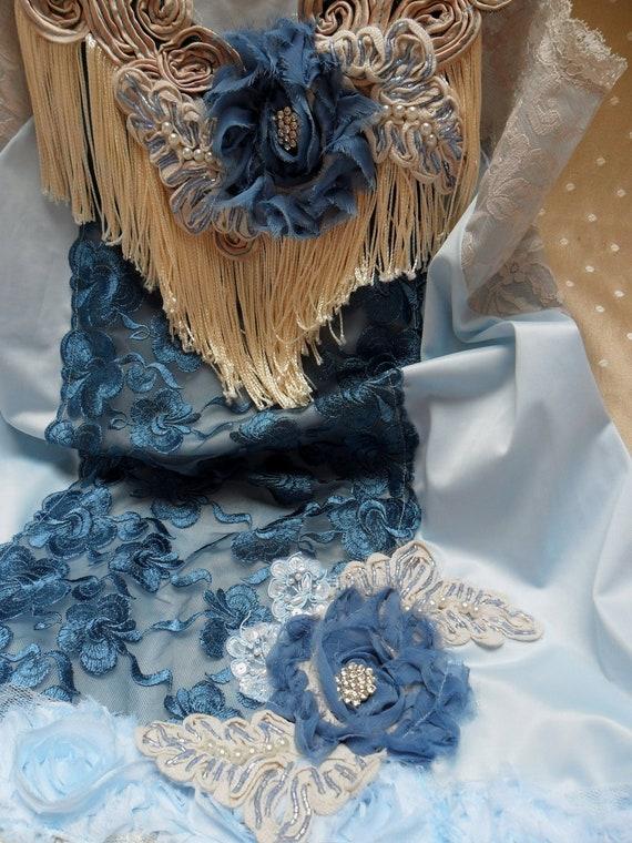 ROARING 20s Flapper Girl 1920s Fringe Jazz Age Speakeasy Great Gatsby   - Vintage Slip Make Over - Blue and Creme