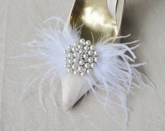 Wedding Bridal White Ostrich Feather And Rhinestone Shoe Clips