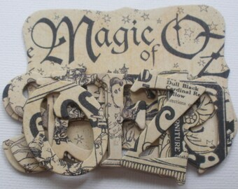 GOBLiN GAZETTE  - Magic of  Oz Chipboard Alphabets Frame and Note Die Cuts -  1.5 inch Letters