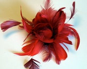 Red feather hair clip - bridal feather fascinator - bridesmaid hair clip