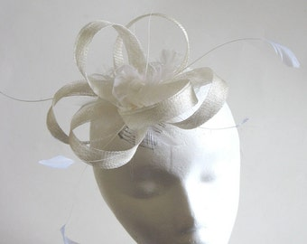 White sinamay bridal fascinator - sinamay wedding headpiece for special occasion