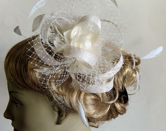 Ivory sinamay bridal fascinator - couture wedding headpiece