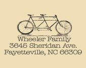 Bike for Two  Custom Traditional Rubber Stamp Design R030