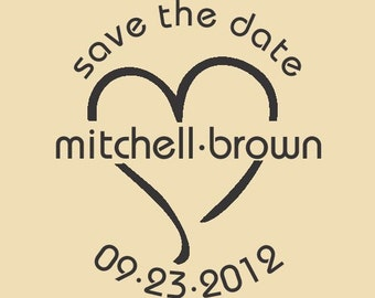 Mitchell-Brown Save the Date Custom Rubber Stamp Design WR007