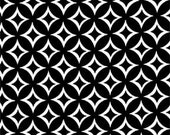 Two (2) Yards- Tweedle Dee White Geometric Print on Black by Michael Miller Fabrics CX5513-Black