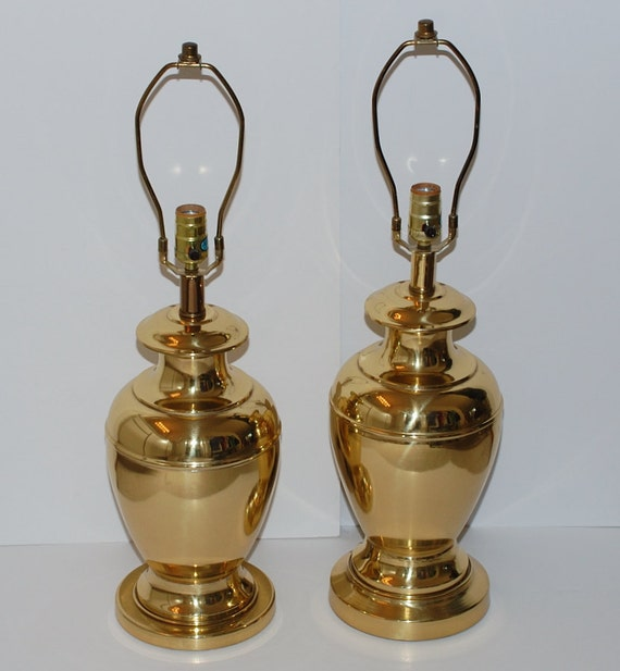 Hollywood Regency Chinoiserie Urn Brass Table Lamps, Pair