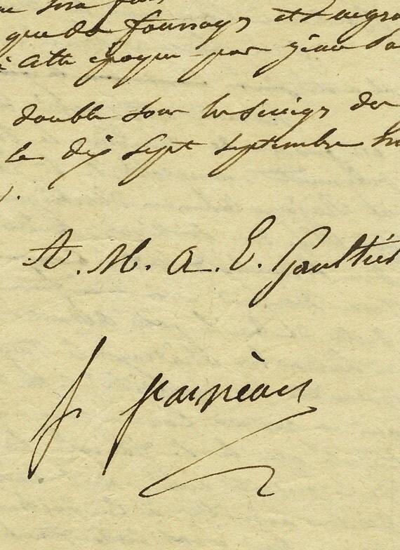 Antique French Sepia Script Document 56