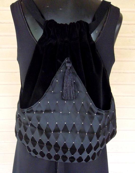 Backpack Black Harlequin  Renaissance Backpack  Black Velvet Book Bag  Black Backpacks