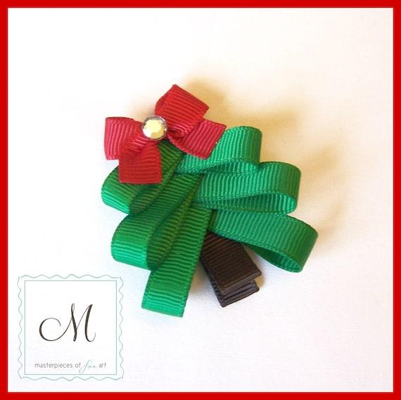 Christmas Tree Hair Clip - A Cute Ribbon Sculpture Christmas Clippie - Winter Hair Bows