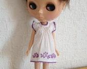 Violet smocked dress with violet emblem hand embroidery for Blythe