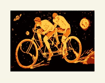 Tandem Bicycle print, The Space Racers, fine art archival Giclee