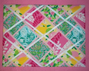New memo board made with Lilly Pulitzer Tile Patch fabric