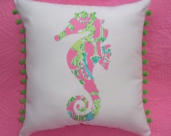 New custom made to order Seahorse Pillow made with your choice of over 30 new, AUTHENTIC Lilly Pulitzer fabrics