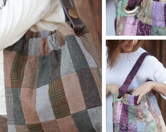 Cinched Patchwork Satchel Digital Sewing Pattern PDF - create easy tote bag using jelly rolls, bali pops or pre-cut fabric strip scraps