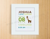 Custom Birth Announcement Print - GIRAFFE Wall Art