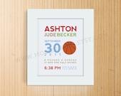 8x10 Custom Birth Announcement Print - BASKETBALL Wall Art