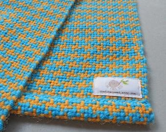 Yellow and Aqua Houndstooth Woven Baby Blanket