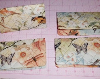 Sparrow, Dragon fly, Butterfly with Diamond Design Quilting Fabric Checkbook Cover