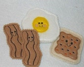 Felt play food - pretend food - play kitchen food - Smiley brown breakfast set - 2 strips of bacon, egg, and pop tart #PF2535BROWN